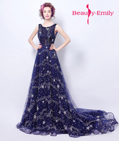 2018 Graduation Starry sky blue formal Evening dresses elegant celebrity party gowns brace skirt for emcee and homecoming dress