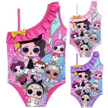 ec9c057408da3 Ванный комплект для девочек 2019 маленьких Lol Одна деталь купальник милый  мультфильм пляжная одежда детский купальный костюм для девочек с ба.