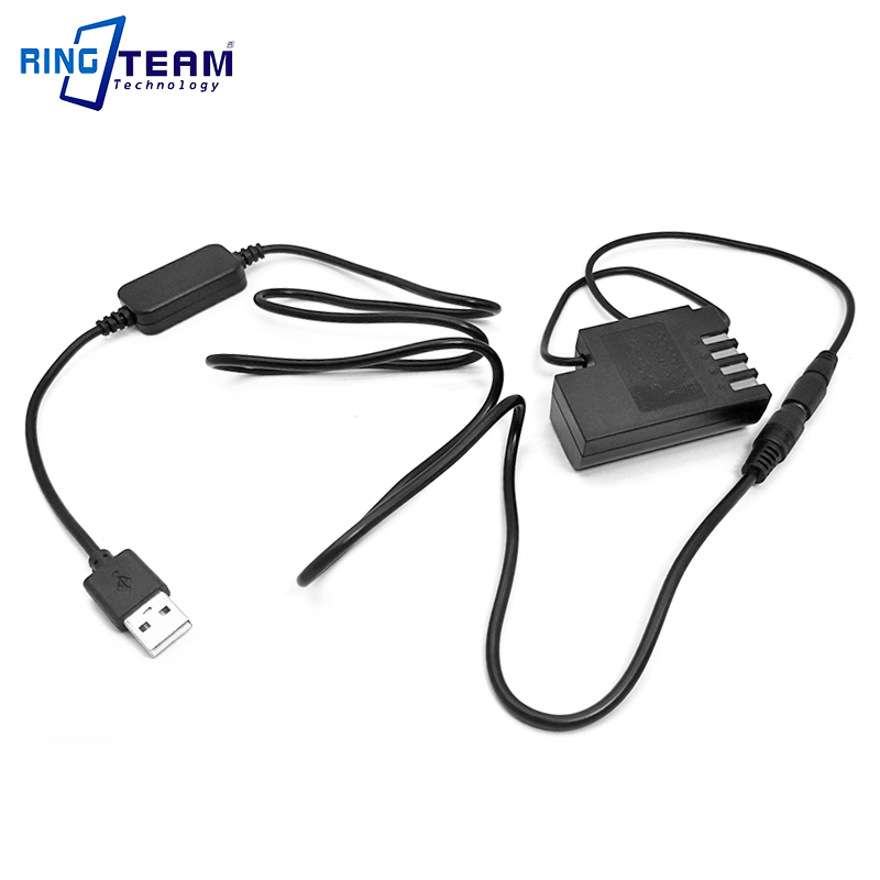DMW-BLF19E DMW DCC12 Coupler + USB Cable Adapter Fit Power Bank DC 5V 2A for Panasonic Lumix DMC-GH3 DMC-GH4 GH5 GH4 GH5s Camera