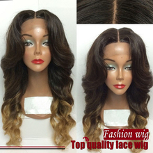 Free Shipping Medium Length Ombre Color Wig Black to Light Brown Loose Wave Synthetic Lace Front wig for Black Women
