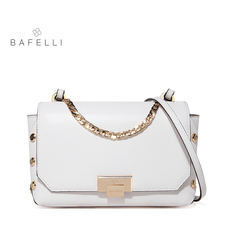BAFELLI new arrival split leather shoulder bag vintage rivet chain flap for women crossbody bag white black women messenger bag