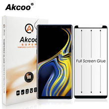 Akcoo Note 9 full glue screen protector black case friendly version AB adhesive glass for Samsung Galaxy