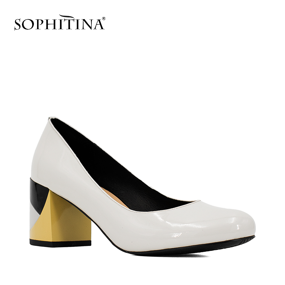 SOPHITINA Brand Lady Pump Handmade Patent Leather Thick Heel Round Toe Colorful heel Party Career Fashion Mature Shoes Women W09