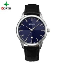 Kuzey Lüks Casual Erkek Saatler Mavi Gümüş Su Geçirmez Hakiki Deri Takvim Moda Iş Erkek Elbise Kol Saati N6019