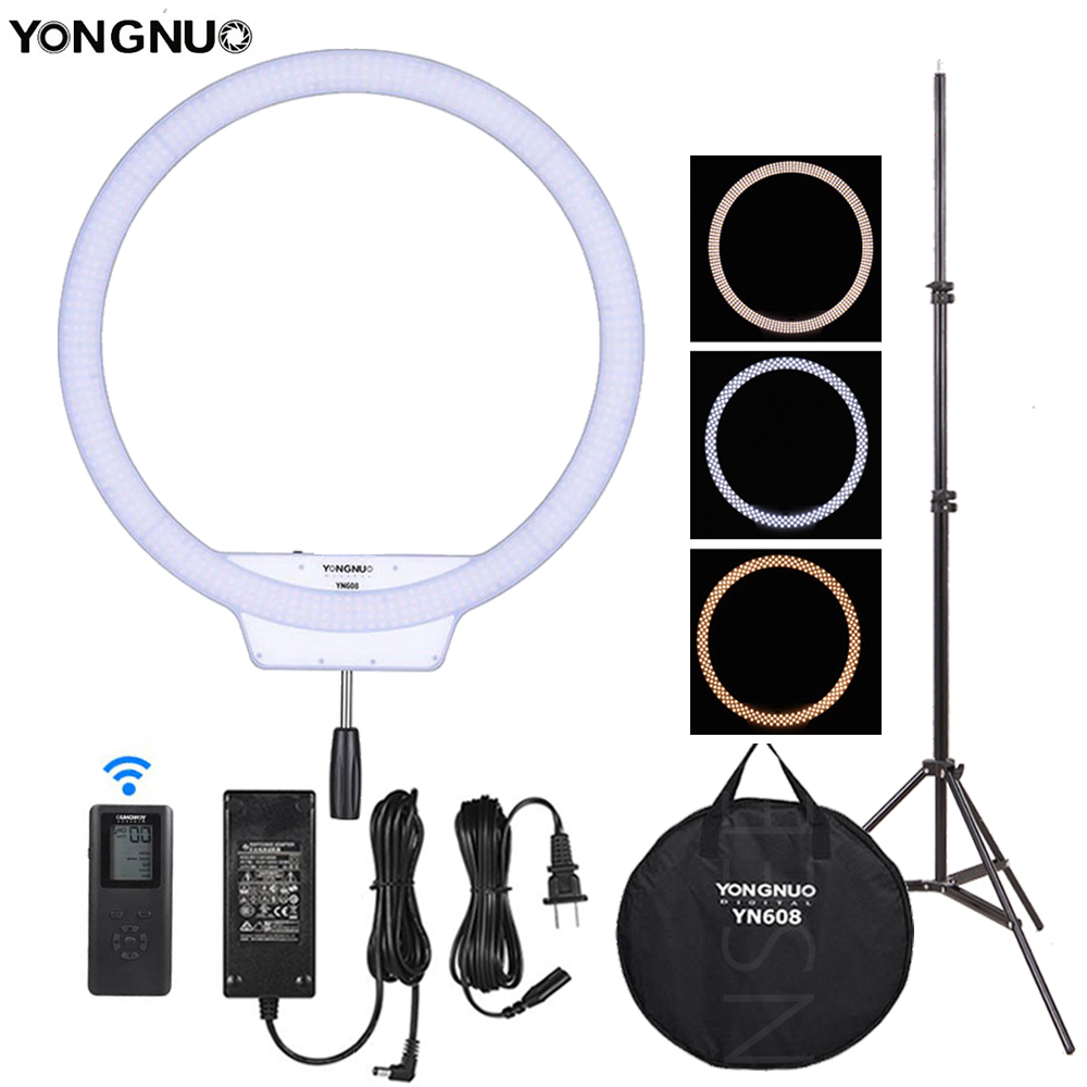 YongNuo YN608 LED Selfie Studio Ring Light Dimmable Wireless Remote LED Video Light With Adapter For Photography Lighting