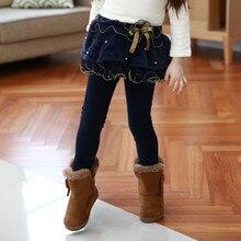 Children s clothing plus thick velvet pants girls new lace mesh leggings culottes wild