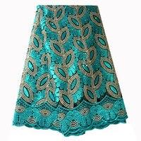 Французская кружевная ткань бирюзовое Африканское кружево с бисером 2019 Высококачественная кружевная расшитая ткань для нигерийские Сваде...