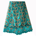 Французский кружевной ткани сине зеленый Африканское кружево с бисером ткани 2019 высокое качество кружевная расшитая ткань для нигерийские...