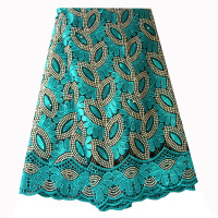 French Lace Fabric Teal Green Beaded African Lace Fabric 2019 High Quality Lace Embroidered Fabric for Nigerian Wedding Dresses