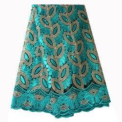 Ourwin Французский кружево ткань сине зеленый бисером сетки вышитые 5 ярдов для Aso Ebi Свадебные платья 2018