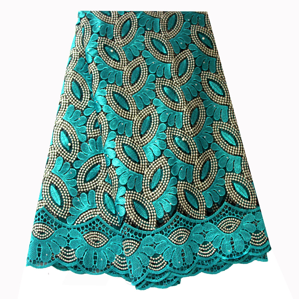 Ourwin French Lace Fabric Teal Green Beaded Lace Fabric Mesh Embroidered Fabric 5 Yards for Aso Ebi Wedding Dresses 2018