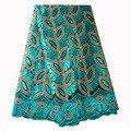 Tela de encaje francés Teal verde con cuentas tela de encaje africano 2019 tela bordada de encaje de alta calidad para vestidos de novia nigerianos