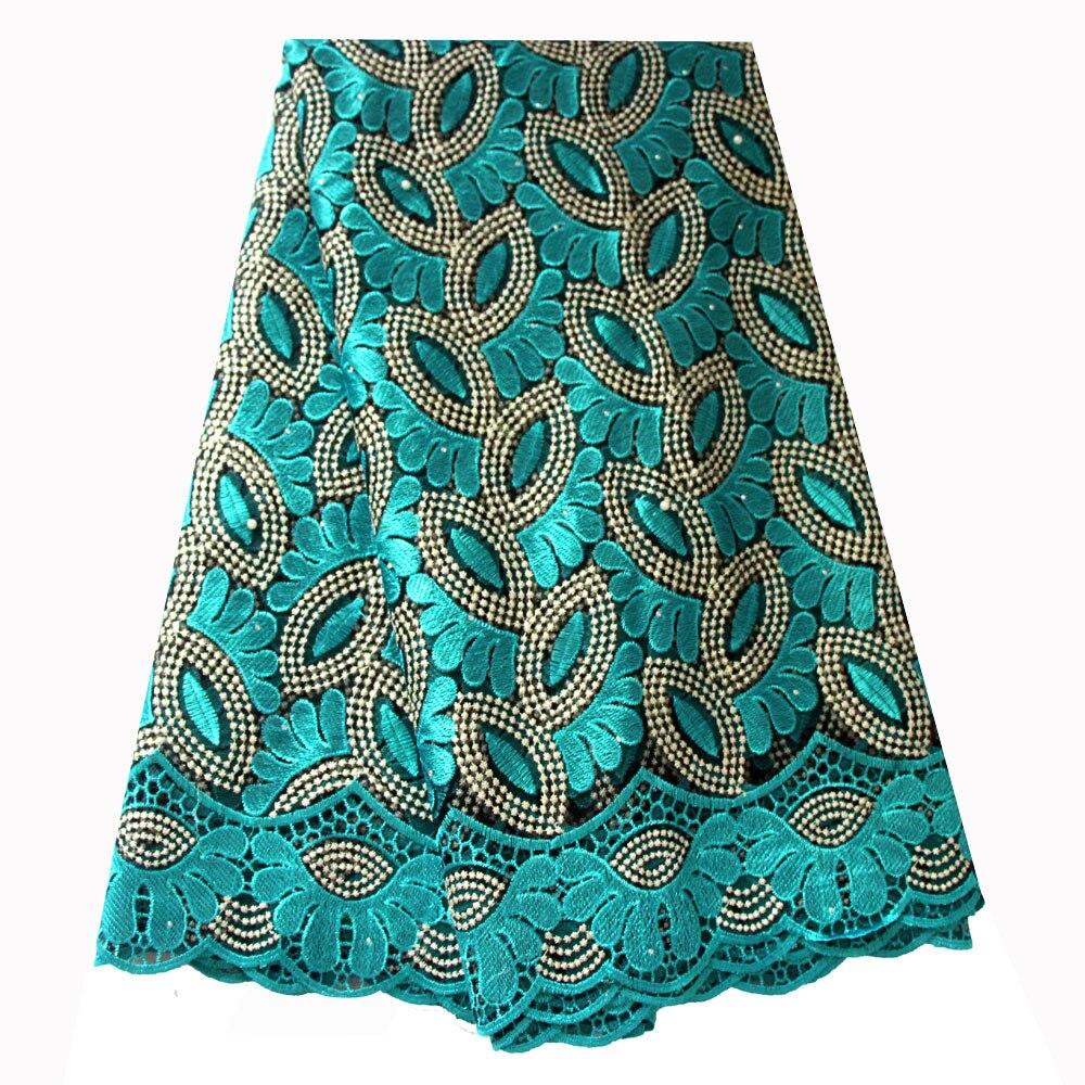 Tissu de dentelle française vert sarcelle perlé tissu de dentelle africaine 2019 tissu brodé de dentelle de haute qualité pour les robes de mariée nigérianes
