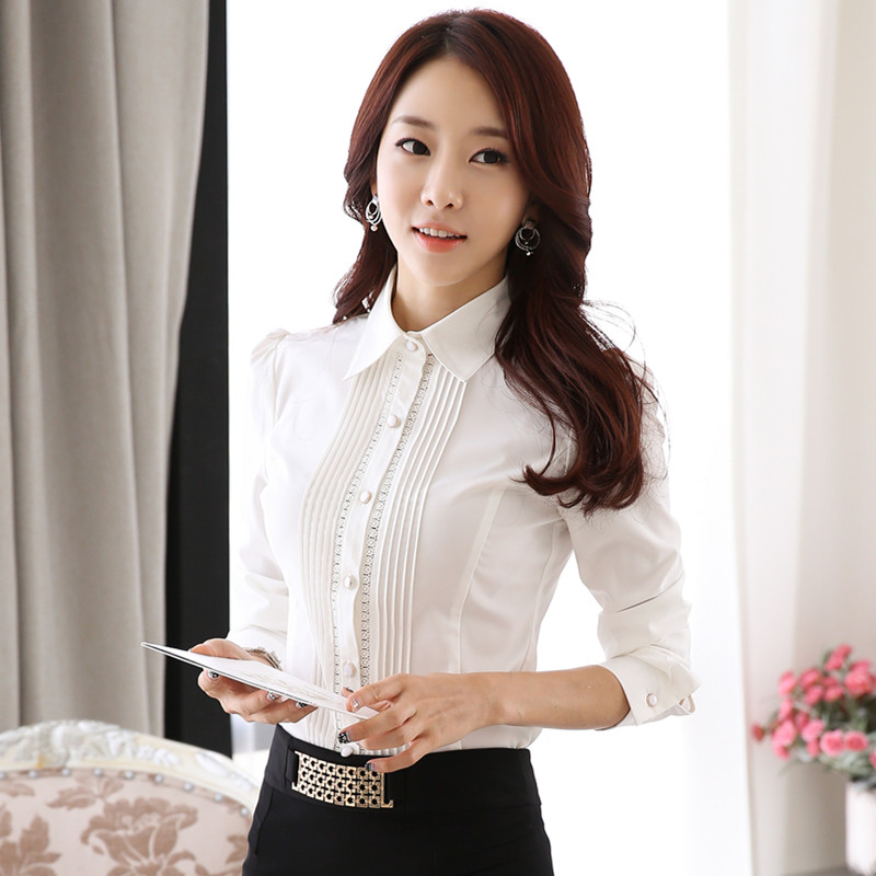 fa66e7ee6171 Lady White Long Sleeve Shirt Chiffon Blouse Button Down Women Business Work  Shirts Autumn Spring Plus Size Office Tops Femme -in Blouses & Shirts from  ...