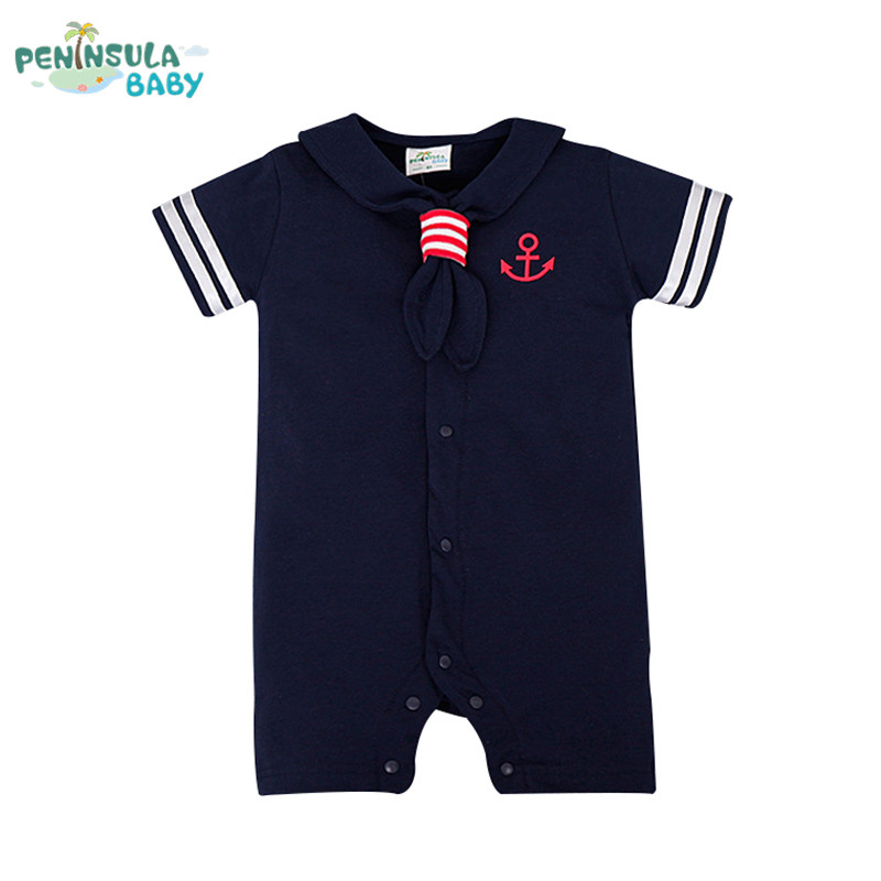 Summer Newborn Baby Rompers Navy Sailor Uniforms Baby Clothes Short Sleeve One-pieces Jumpsuit Infant Boy Girl Clothing 2016 summer short sleeve baby boy sailor suit jumpsuit infant clothing navy newborn baby rompers