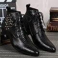 Новая Мода Мужчин Зимние Ботинки Мужчины Высокого Качества Из Натуральной Кожи змеиной Заклепки Зашнуровать Туфли На Высоких Каблуках Для Партии Большого Размера