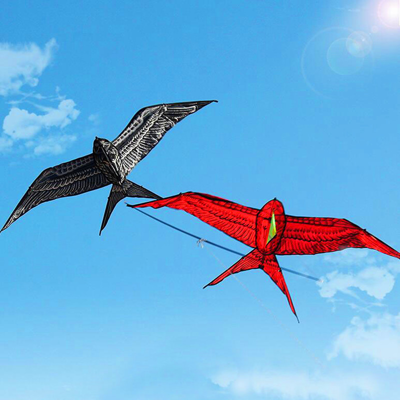 Free shipping carrying pole double swallow kite outdoor toys flying nylon ripstop bird kites for adults dragon fly weather vane