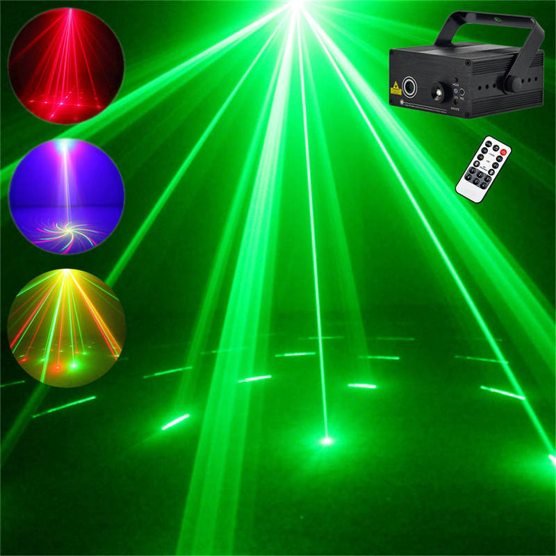 AUCD Mini 8 Big Patterns Red Green Laser Projector Stage Equipment Lights 3W Blue LED DJ KTV Show Wedding Stage Lighting Z08RG