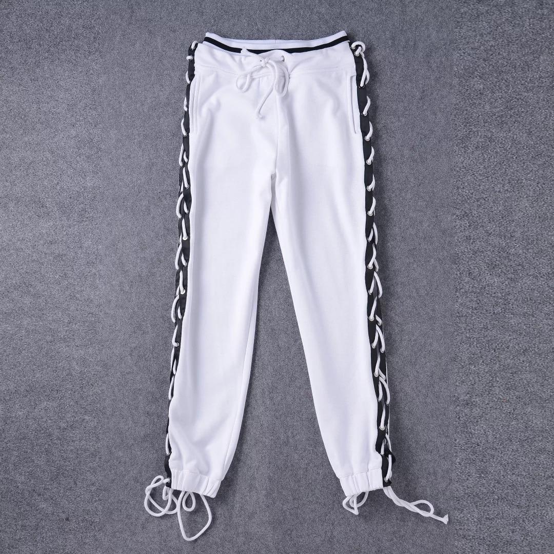 Black White Side Button Lace Up Pants Women High Waist Loose Harem Pants Casual Hip Hop Punk Trousers Ladies Sweatpants Joggers