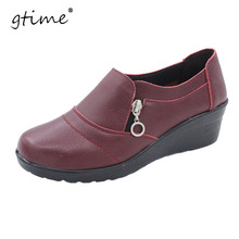 GTIME Women Ankle Boots 2017 New Spring&Autumn Soft PU Leather Platform Shoes Woman Zip Low Wedges Shoes Size Plus 35-41 #ZWS57
