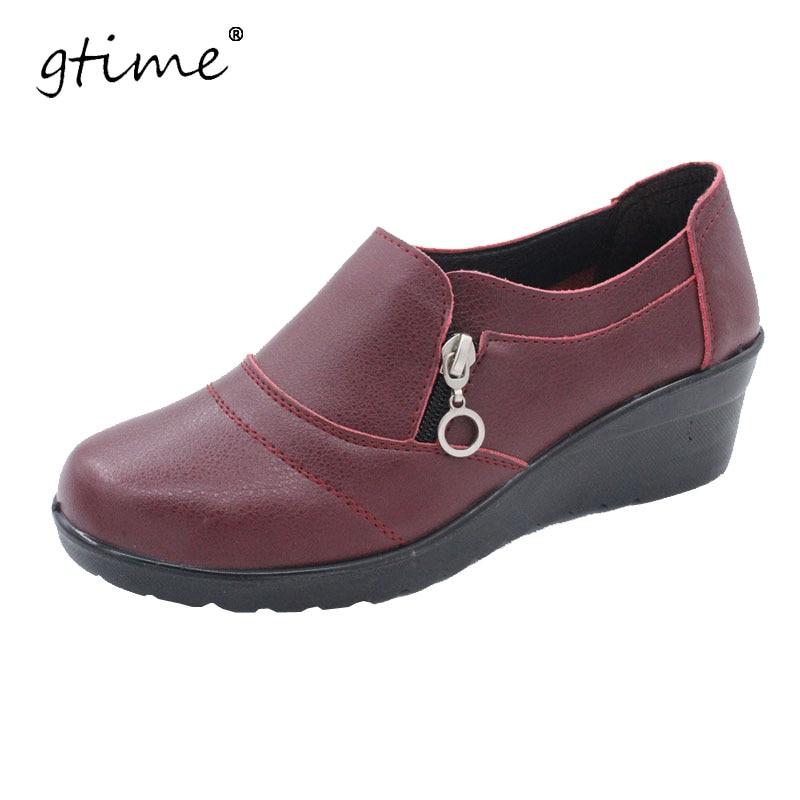 Gtime النساء الكاحل 2017 ربيع جديد والخريف لينة بو الجلود منصة حذاء امرأة البريدي منخفض أسافين الأحذية حجم زائد 35-41 # ZWS57