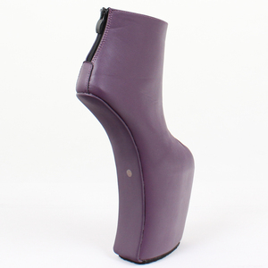 Image 3 - Women Heelless Platform Boots Sexy Round Toe design 2019 Womens Shoes Ankle Boots Fashion High Heels Large Size 36 46