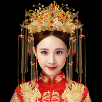 JaneVini New Luxury Chinese Gold Wedding Crown with Earrings Ancient Bridal Hairpin Long Tassel Wedding Jewelry Hair Accessories