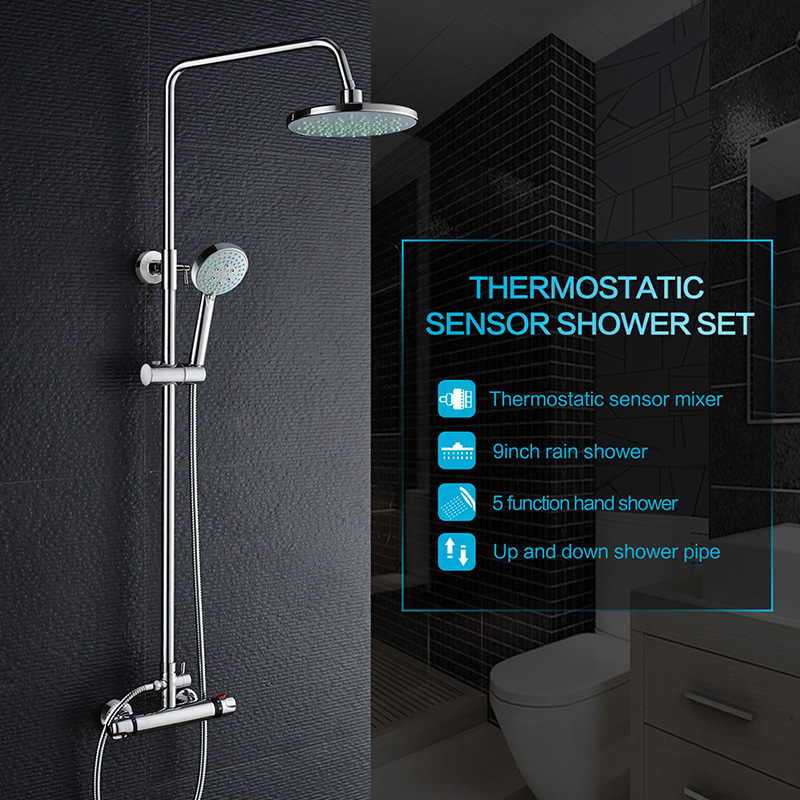 ROVATE Bathroom Thermostatic Rain Shower System Wall Mounted Rain Mixer Shower Combo Set with 9inch Head Shower kanen stereo headphone w microphone red black 3 5mm jack 210cm length
