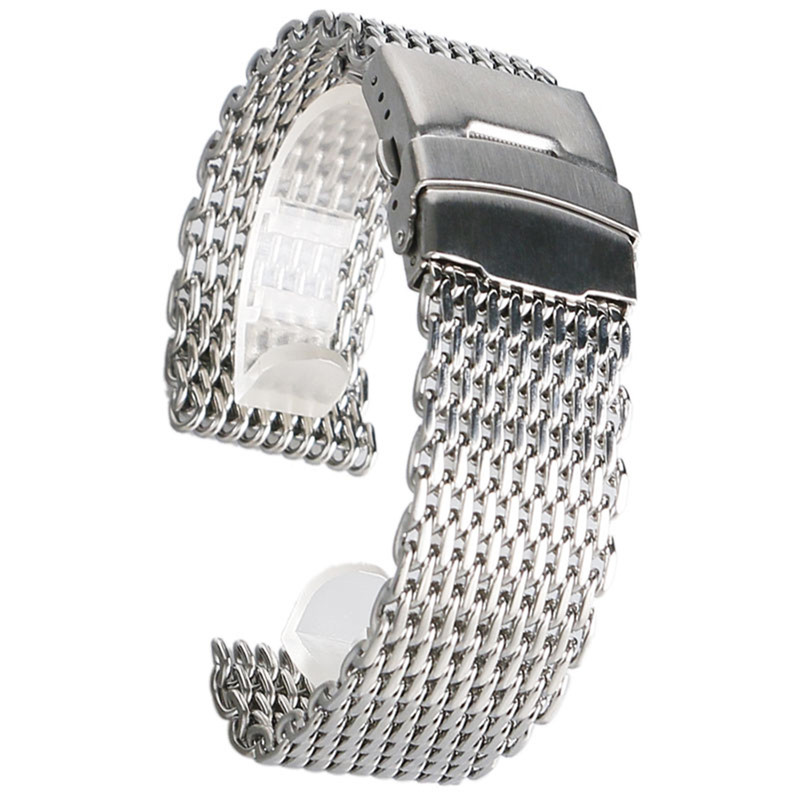 18mm 20mm 22mm 24mm Watchband Silver Mesh Web Stainless Steel Wristwatch Band Strap Fashion Bracelet Replacement + 2 Spring Bars