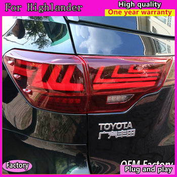Car Styling for Toyota Highlander  Tail Light Tail Lights 2015-2019 New Kluger LED  Lexus Type Rear Lamp DRL+Brake+Park+Signal