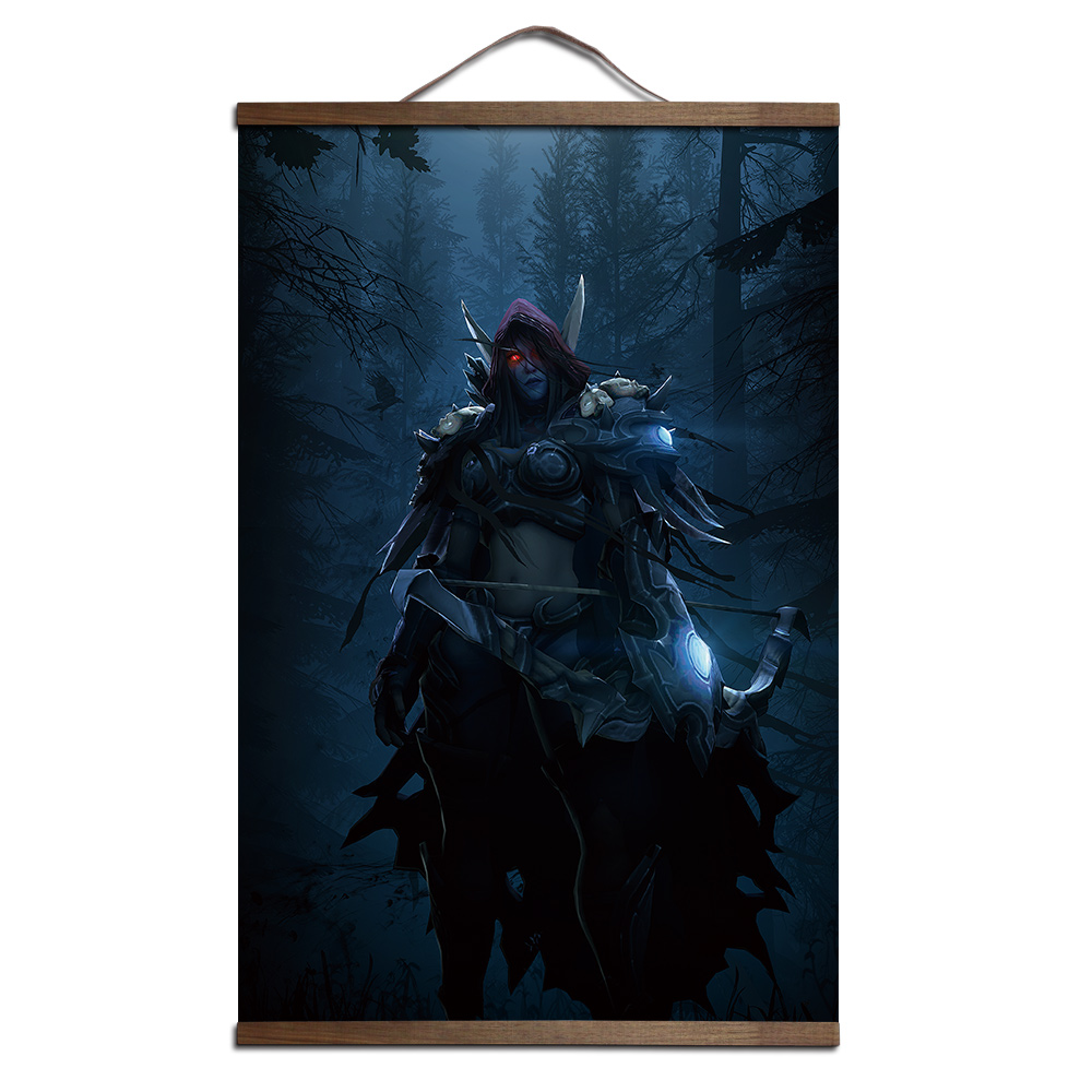 poster voor World of Warcrafts Sylvanas Windrunner canvas prints posters decoratie schilderij met massief hout opknoping scroll