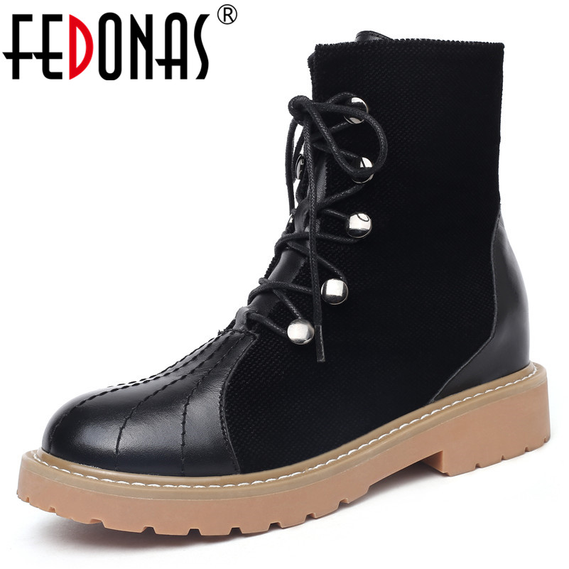 FEDONAS Fashion Women Short Motorcycle Boots High Heels Autumn Winter Rivets Martin Shoes Woman Round Toe Casual Shoes Boots fedonas retro ruffels women shoes woman wedges high heeled warm autumn winter motorcycle boots fashion new round toe martin shoe