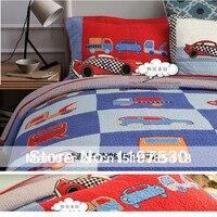 Free shipping Cartoon car kids bedding set boys quilted twin size summer handmade patchwork quilt pillow bedspread set