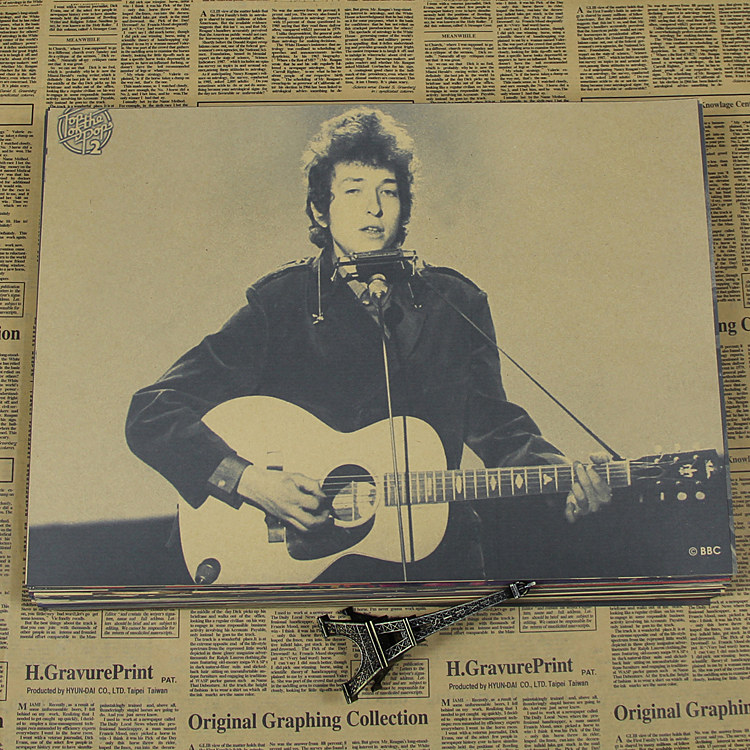 US $1 65 12% OFF|Bob dylan kraft paper poster ballad poet bar wall  decoration painting /wall sticker Kraft poster-in Wall Stickers from Home &  Garden