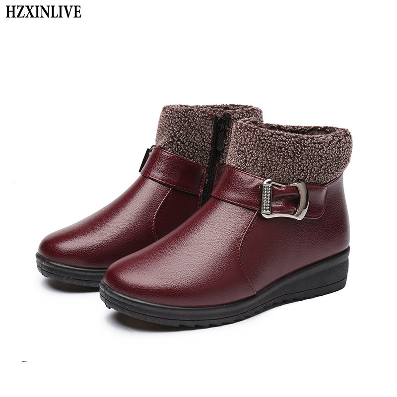 HZXINLIVE Winter Women Boots Genuine Leather Waterproof Warm Ankle Boots Thick Soled Warm Shoes Woman Flats Botas Mujer Zapatos women snow boots winter warm fur ankle boots couple thick soled cotton shoes woman flats waterproof slip on botas mujer zapatos