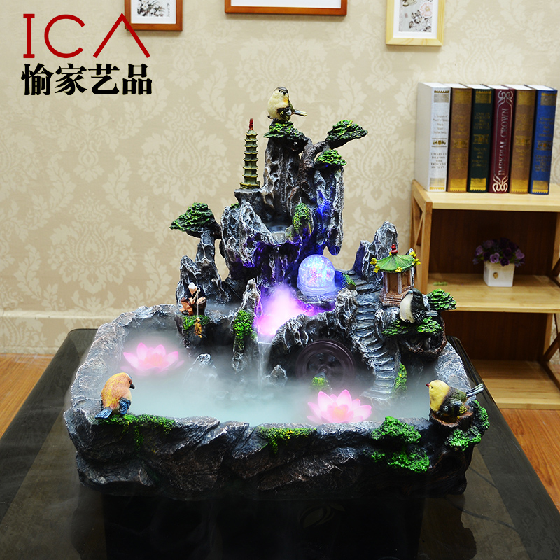 Ica rockery fountain water features lucky feng shui wheel decoration bonsai humidifier - Cute home store