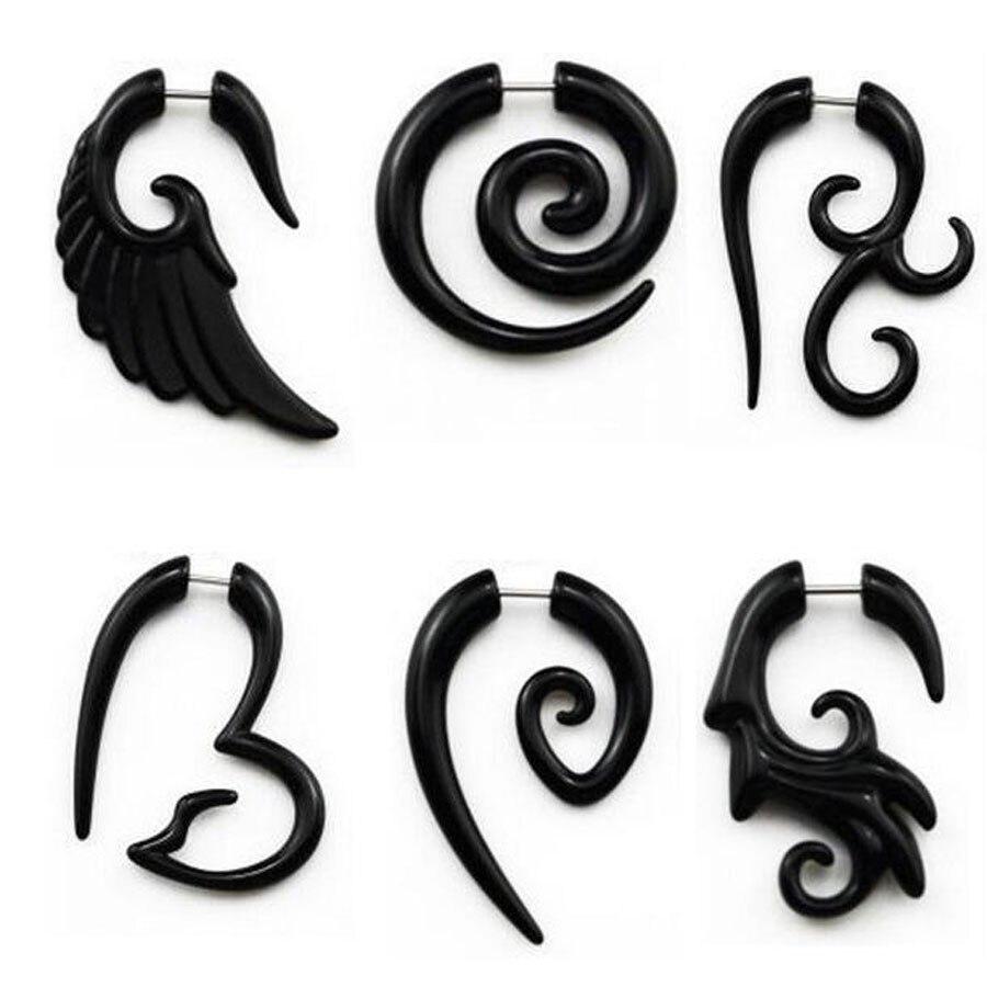 2pcs Black Acrylic Fake Cheater Twist Spiral Ear Taper Gauges Expanders  Earring Ear Tunnels Plugs Earrings