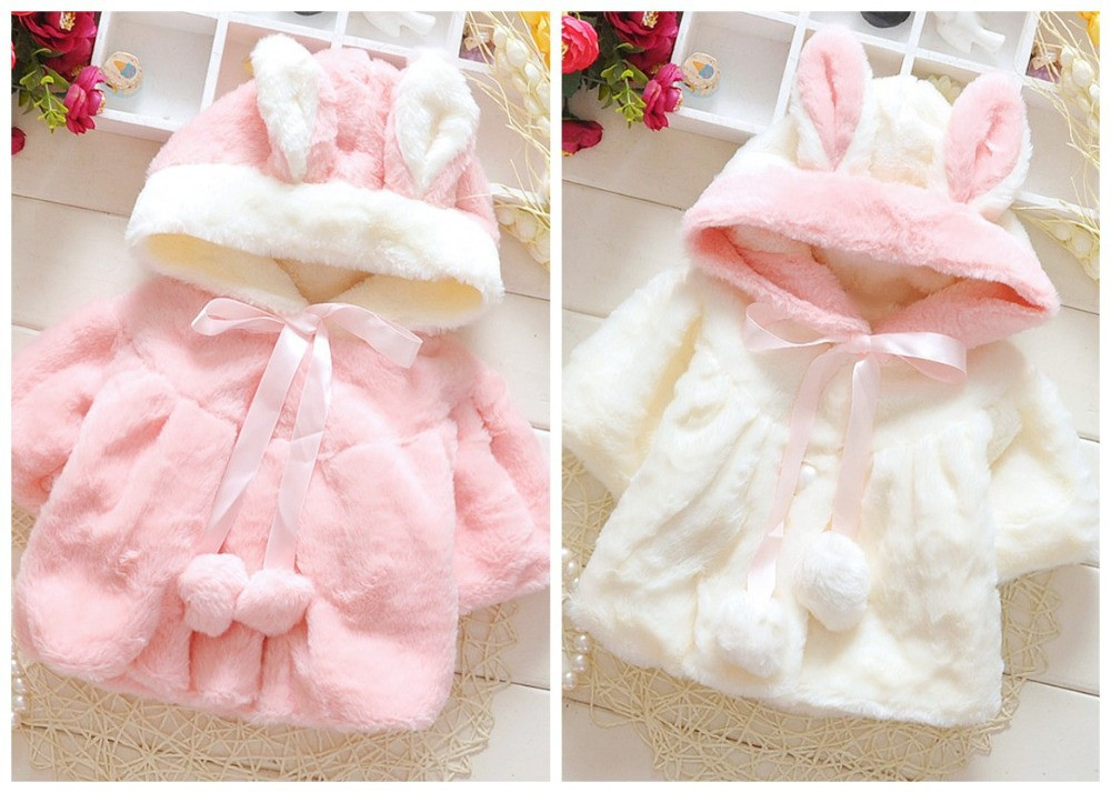 EMS-DHL-Free-Shipping-Little-Girls-Baby-Girls-Bubby-Animal-Cartoon-Faux-Fur-Hooded-Rabbit-Jacket