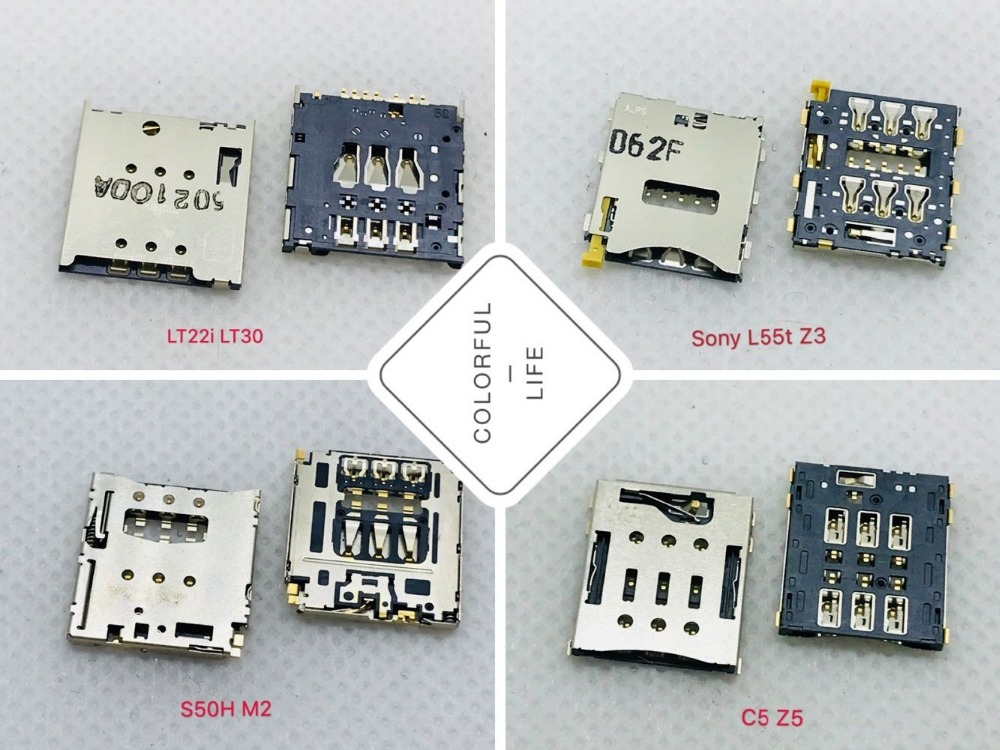 LT22I L55T S50H M2 C5 <font><b>Z5</b></font> SIM Card Socket Adapter Holder 7pin 6pin Slot Tray <font><b>Motherboard</b></font> PCB Board Smartphone FFC Repair LT30 Z3 image