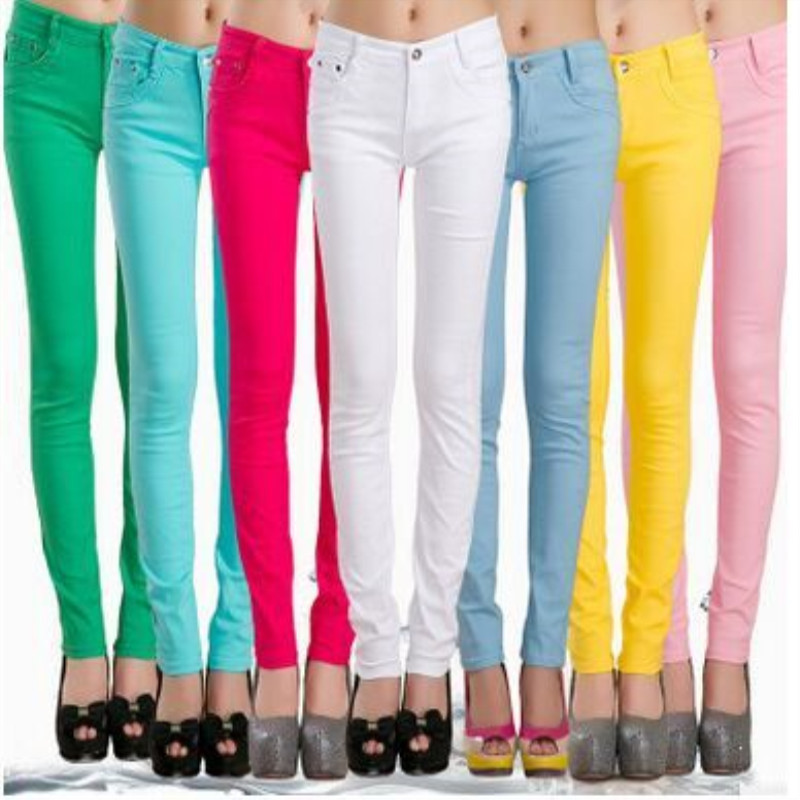 Spring & Autumn Pencil   Pants   For Women Skinny Femme Trousers Candy Color Solid Slim Female   Pants   Plus Size   Capris