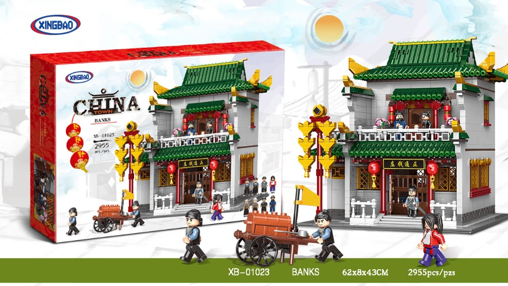 XINGBAO 01023 2955Pcs Chinese Building Series The Old-Style Bank Set Building Blocks Bricks Kids Toys Model Birthday GiftsXINGBAO 01023 2955Pcs Chinese Building Series The Old-Style Bank Set Building Blocks Bricks Kids Toys Model Birthday Gifts