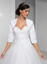 Free shipping 2017 New Arrival Elegant Luxury Bridal Satin Bolero Shrug Jacket 3/4 sleeves Cheap Wedding Gowns