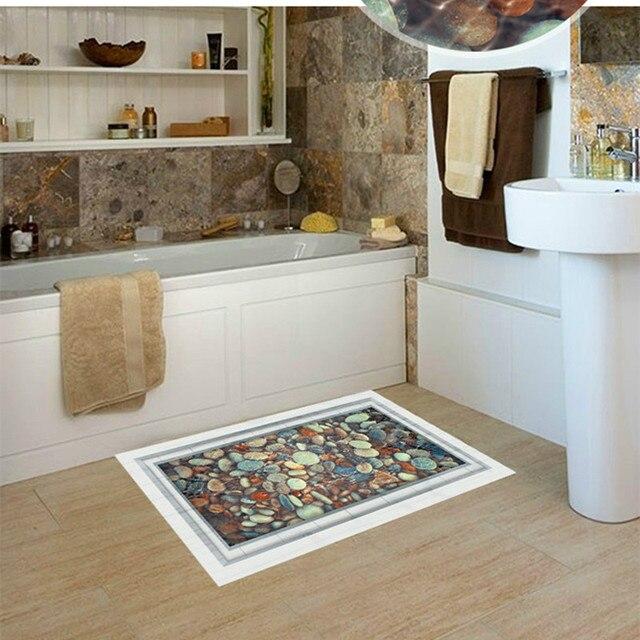 Pebbles Pond 3D Floor Stickers Bathroom Decoration Fake Window Vinyl Living  Room Greative Wall Sticker Decals