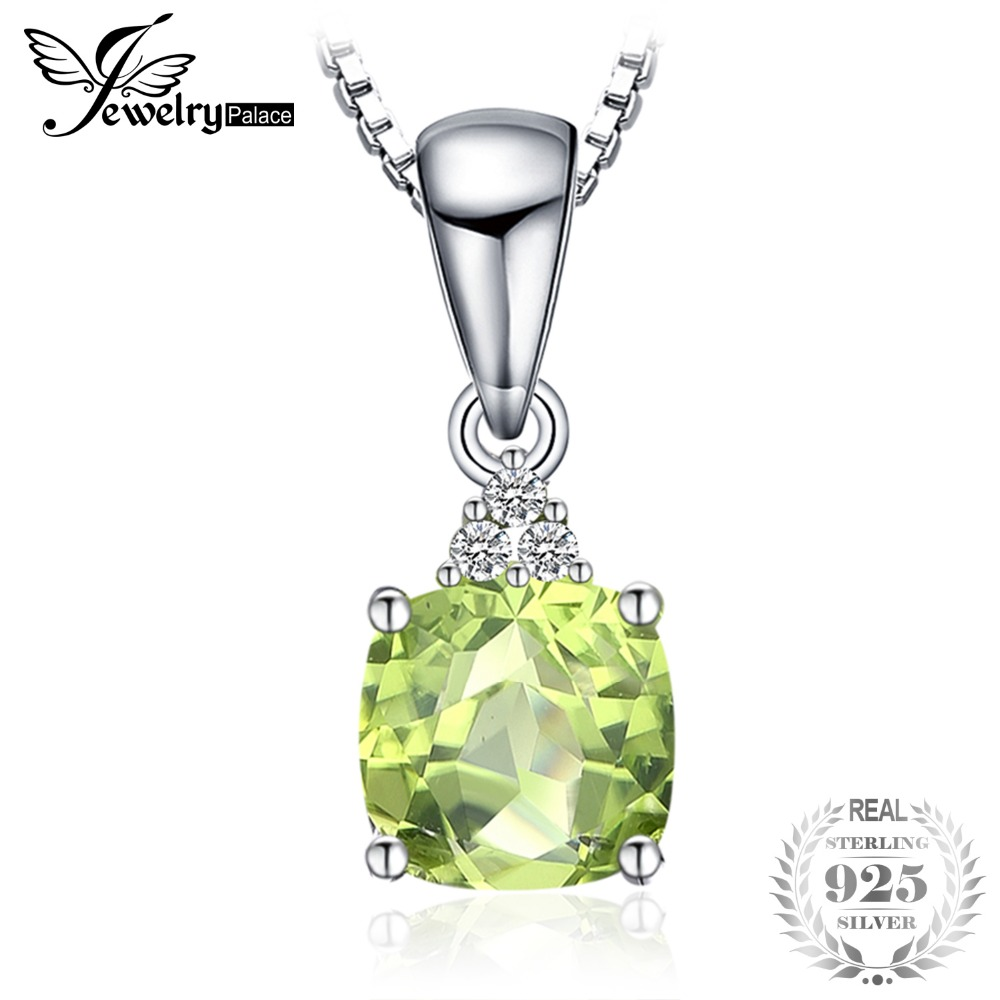 1.1ct Cushion-Cut Natural Peridot Pendants Genuine 925 Sterling Silver Brand Fine Jewelry Not Include the Chain
