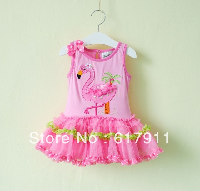 retail new classic rare editions flamingo girls clothes christmas dress clothing set 2pcs sleeveless tutu dress leggings pink in clothing sets from mother