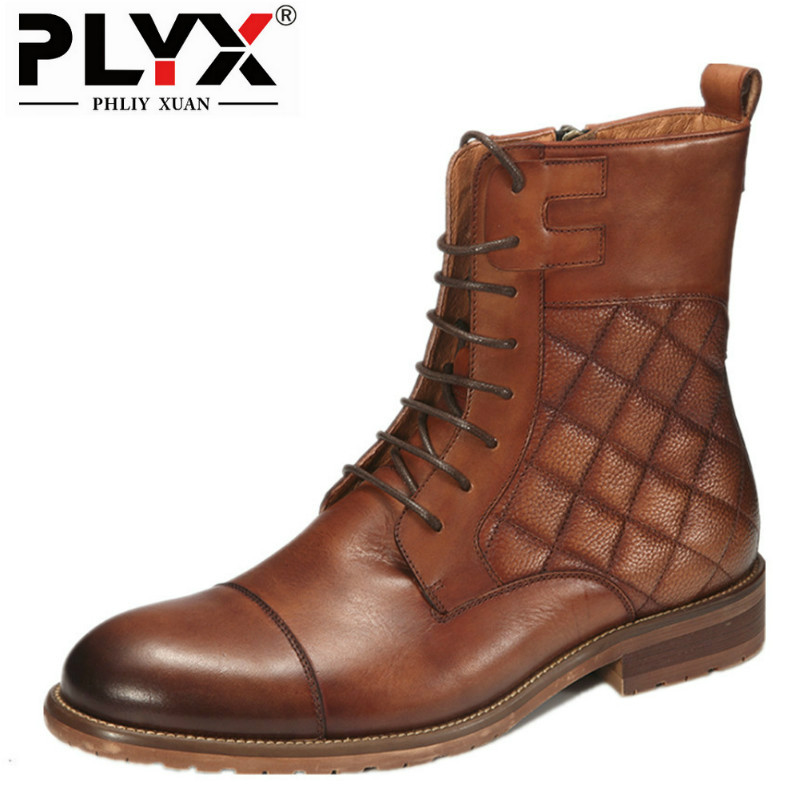 PHLIY XUAN New 2018 Fashion Retro Men Boots 100% Handmade Italy Genuine Leather Boots Lace-Up Vintage England High Winter Boot wine kanglong prince xuan 4 100
