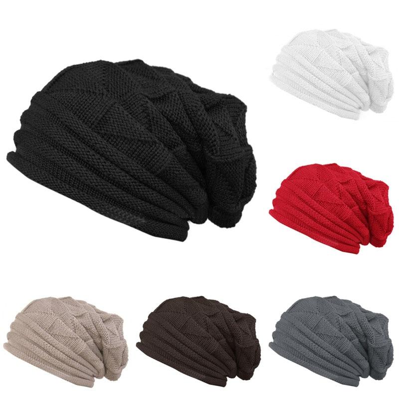 Men Women Knit Baggy Beanie Winter Wool Hat Slouchy Unisex Knitted Skull Cap hot winter beanie knit crochet ski hat plicate baggy oversized slouch unisex cap