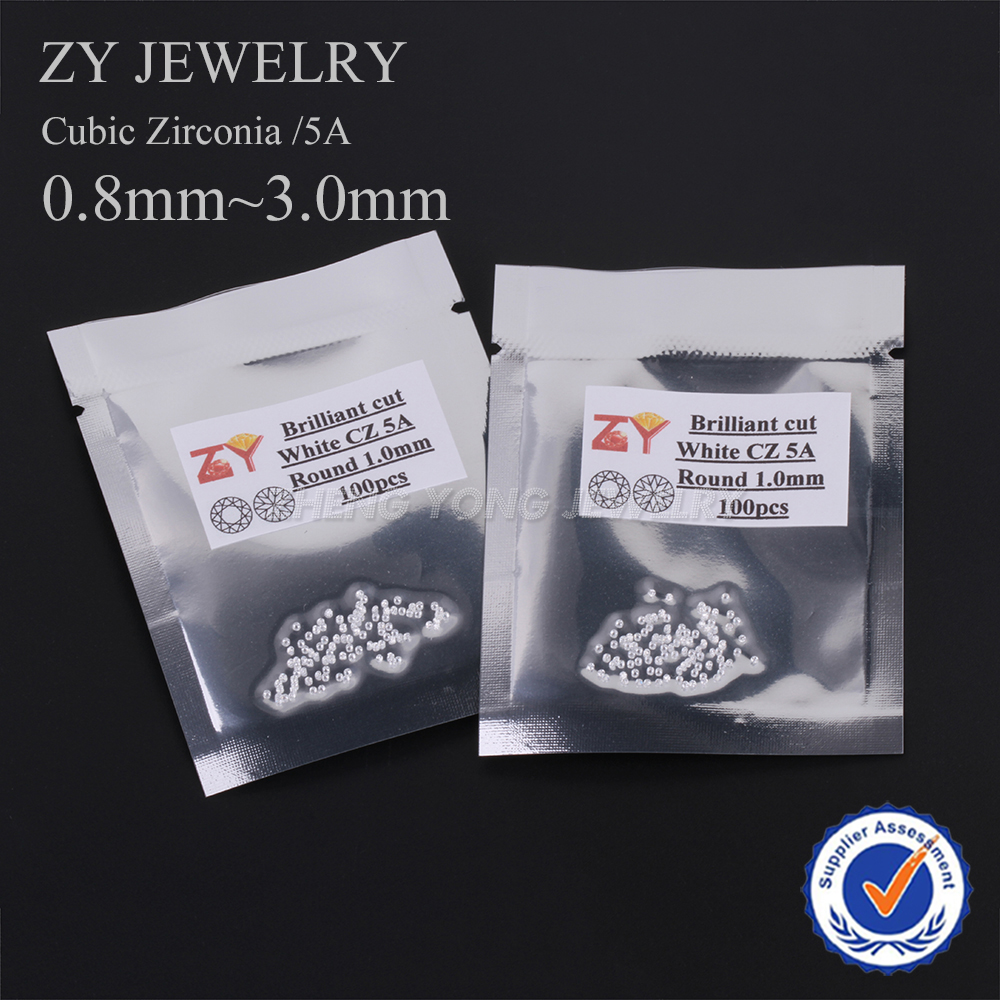 100pcs/lot AAAAA CZ Stone 0.8~3.0mm White Round Cut Loose Cubic Zirconia Synthetic Gems Stone For Jewelry