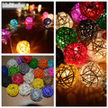 Multicolor RGB  rattan ball string lights garland, party wedding home bedroom patio decoration, xmas gift,night light