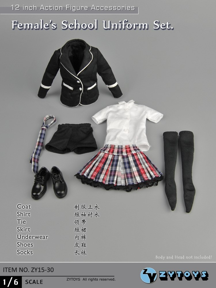 ФОТО ZYTOYS 1/6 Scale Winter Female School Uniform Set ZY15-30